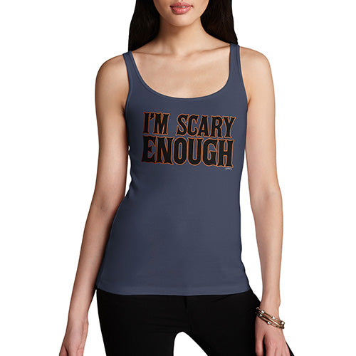 Funny Tank Top For Women I'm Scary Enough Women's Tank Top Large Navy
