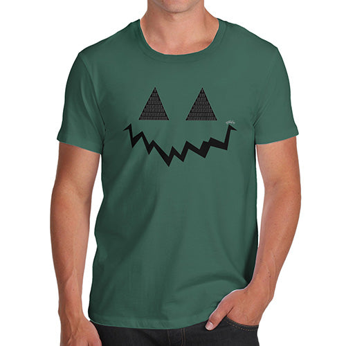 Funny T Shirts For Dad Pumpkin Hidden Smile Men's T-Shirt Large Bottle Green