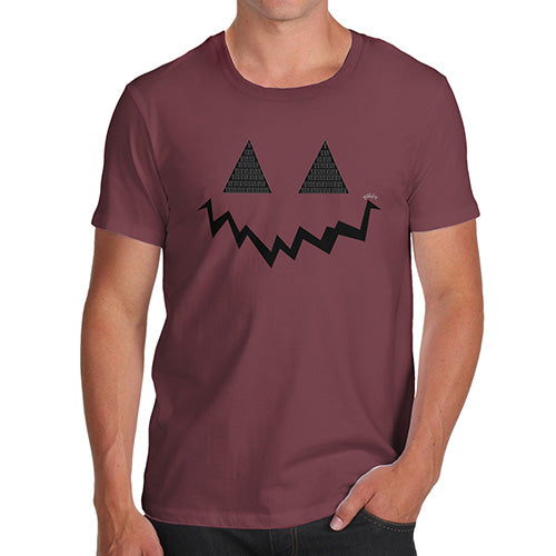 Funny Gifts For Men Pumpkin Hidden Smile Men's T-Shirt Large Burgundy
