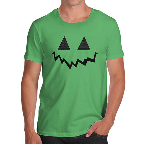 Novelty T Shirts For Dad Pumpkin Hidden Smile Men's T-Shirt X-Large Green