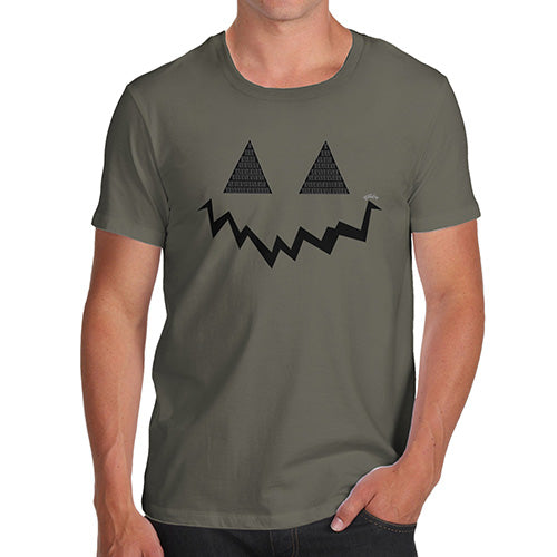 Novelty Tshirts Men Funny Pumpkin Hidden Smile Men's T-Shirt Medium Khaki