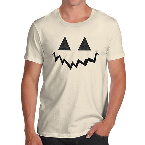 Mens Novelty T Shirt Christmas Pumpkin Hidden Smile Men's T-Shirt Large Natural