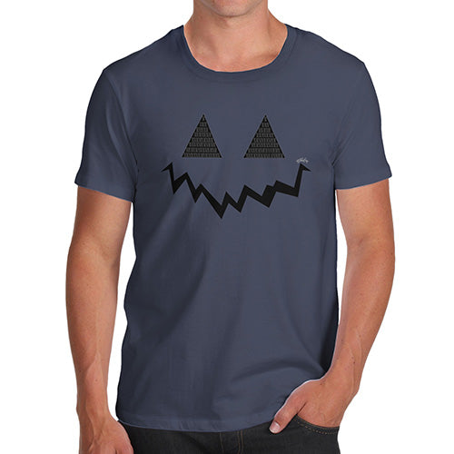 Funny T Shirts For Men Pumpkin Hidden Smile Men's T-Shirt X-Large Navy