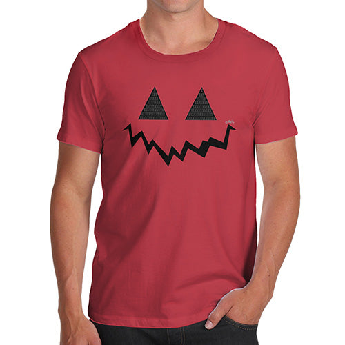 Funny T Shirts For Men Pumpkin Hidden Smile Men's T-Shirt Medium Red