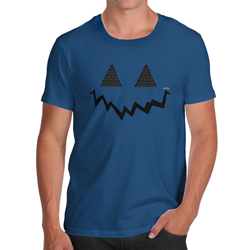Novelty Tshirts Men Pumpkin Hidden Smile Men's T-Shirt X-Large Royal Blue
