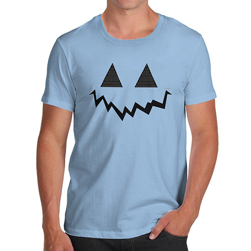 Mens Humor Novelty Graphic Sarcasm Funny T Shirt Pumpkin Hidden Smile Men's T-Shirt Small Sky Blue