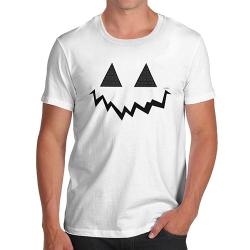 Novelty Tshirts Men Funny Pumpkin Hidden Smile Men's T-Shirt Small White