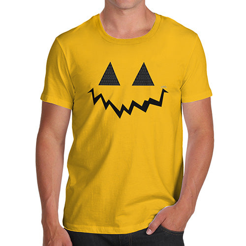 Funny Mens Tshirts Pumpkin Hidden Smile Men's T-Shirt X-Large Yellow
