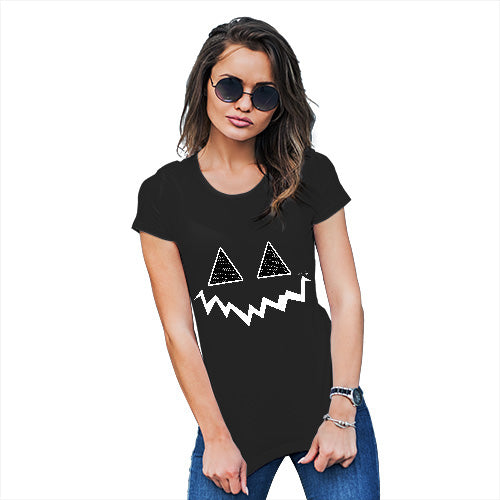 Womens Novelty T Shirt Pumpkin Hidden Smile Women's T-Shirt Large Black