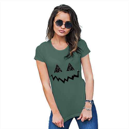Womens Funny T Shirts Pumpkin Hidden Smile Women's T-Shirt X-Large Bottle Green