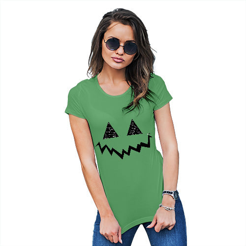 Womens Funny T Shirts Pumpkin Hidden Smile Women's T-Shirt X-Large Green
