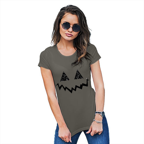 Funny T Shirts For Mom Pumpkin Hidden Smile Women's T-Shirt Large Khaki