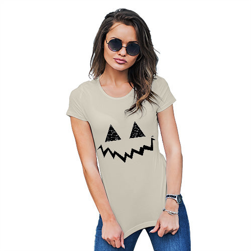 Funny Shirts For Women Pumpkin Hidden Smile Women's T-Shirt X-Large Natural