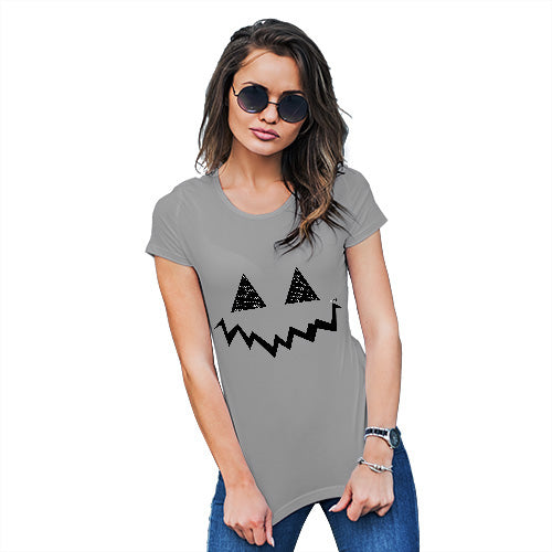 Womens Novelty T Shirt Christmas Pumpkin Hidden Smile Women's T-Shirt Large Light Grey