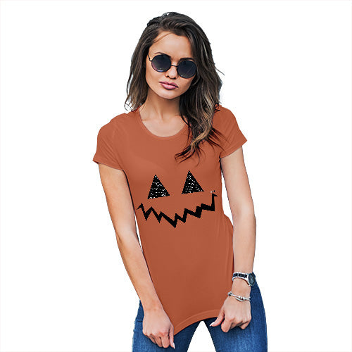 Funny Tee Shirts For Women Pumpkin Hidden Smile Women's T-Shirt Medium Orange