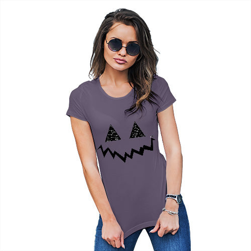 Womens Funny Tshirts Pumpkin Hidden Smile Women's T-Shirt X-Large Plum
