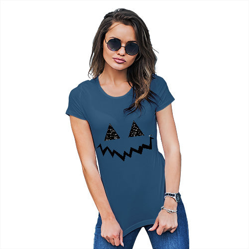 Novelty Gifts For Women Pumpkin Hidden Smile Women's T-Shirt X-Large Royal Blue