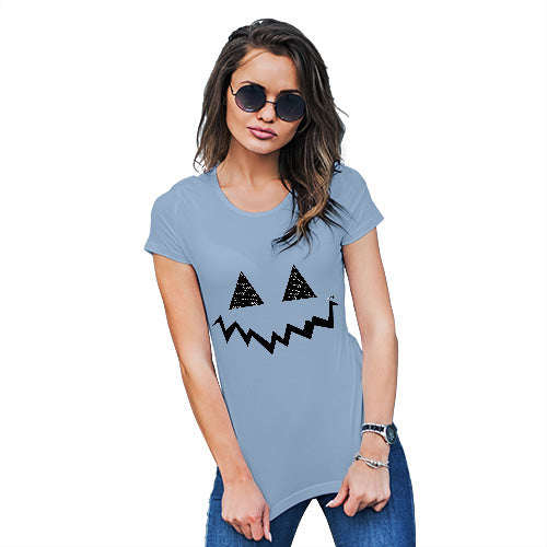 Funny T Shirts For Women Pumpkin Hidden Smile Women's T-Shirt Medium Sky Blue