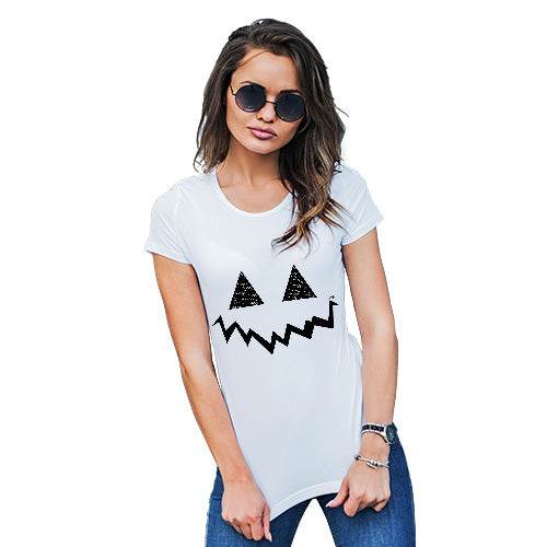 Womens Funny Sarcasm T Shirt Pumpkin Hidden Smile Women's T-Shirt Medium White