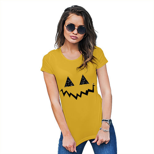 Funny T Shirts For Mom Pumpkin Hidden Smile Women's T-Shirt X-Large Yellow