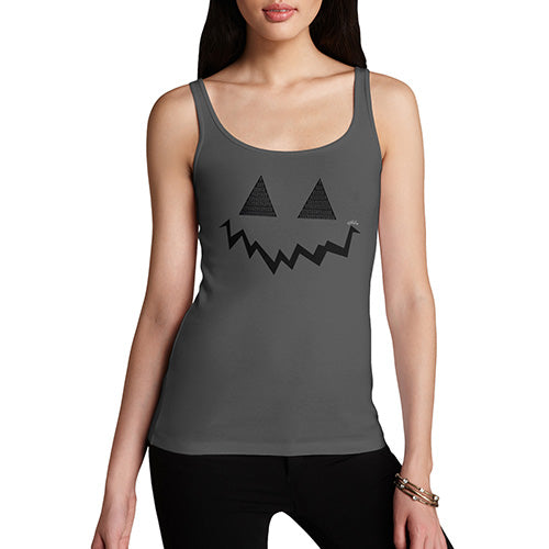 Funny Tank Top For Mom Pumpkin Hidden Smile Women's Tank Top Large Dark Grey