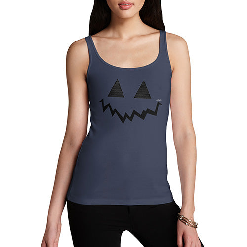 Novelty Tank Top Women Pumpkin Hidden Smile Women's Tank Top Large Navy