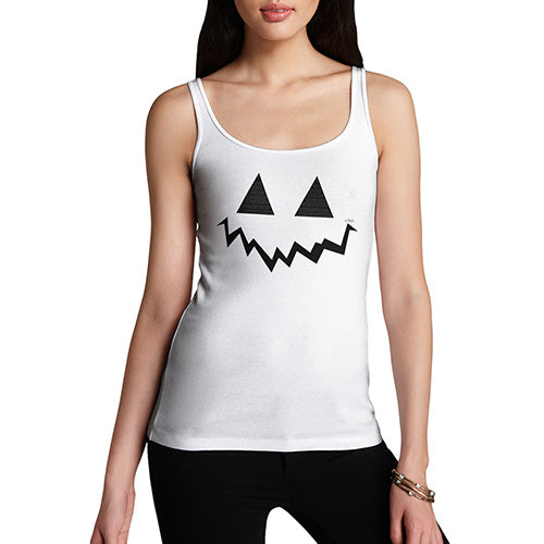 Funny Tank Tops For Women Pumpkin Hidden Smile Women's Tank Top X-Large White