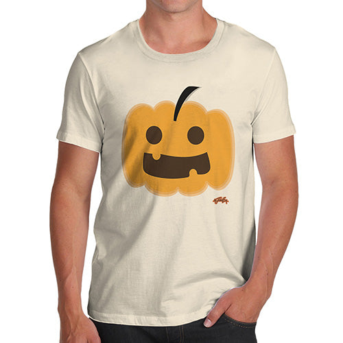 Funny Mens Tshirts Happy Pumpkin Men's T-Shirt Medium Natural