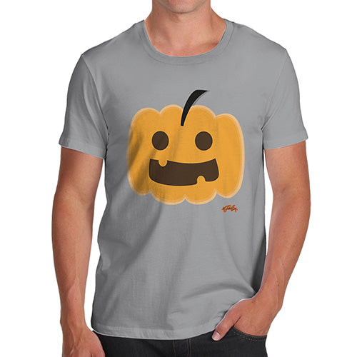 Funny Mens Tshirts Happy Pumpkin Men's T-Shirt Small Light Grey
