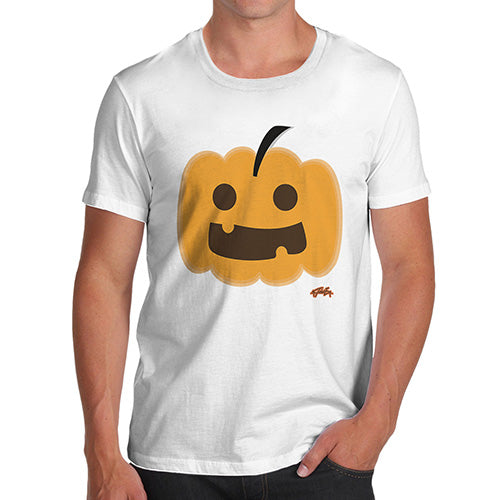 Funny Tee Shirts For Men Happy Pumpkin Men's T-Shirt X-Large White
