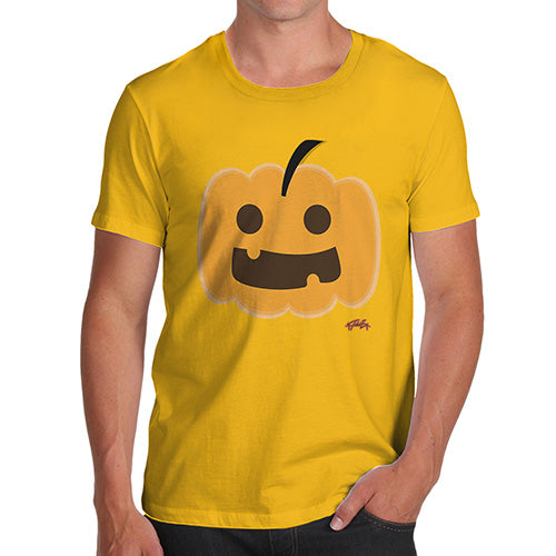 Novelty T Shirts For Dad Happy Pumpkin Men's T-Shirt X-Large Yellow