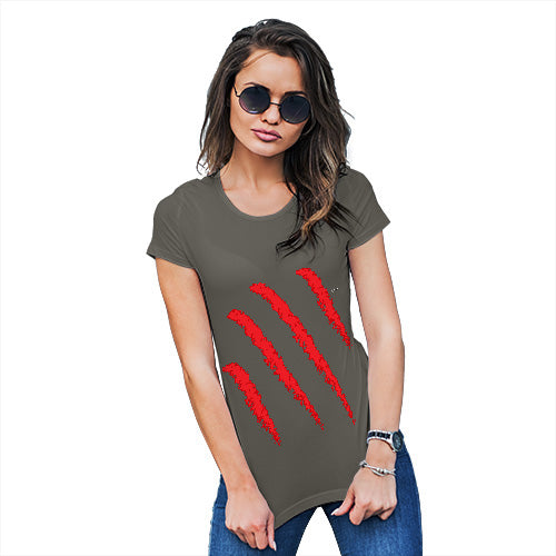 Womens Novelty T Shirt Slasher Women's T-Shirt X-Large Khaki