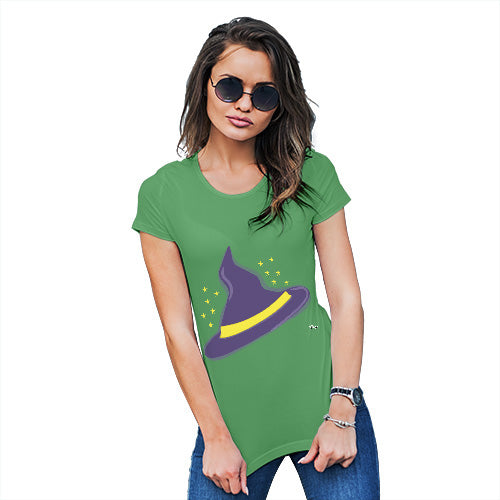 Funny Tee Shirts For Women Witches Hat Women's T-Shirt Small Green