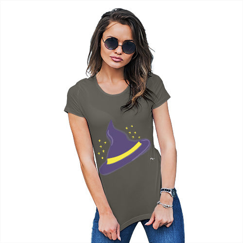 Novelty Tshirts Women Witches Hat Women's T-Shirt Large Khaki