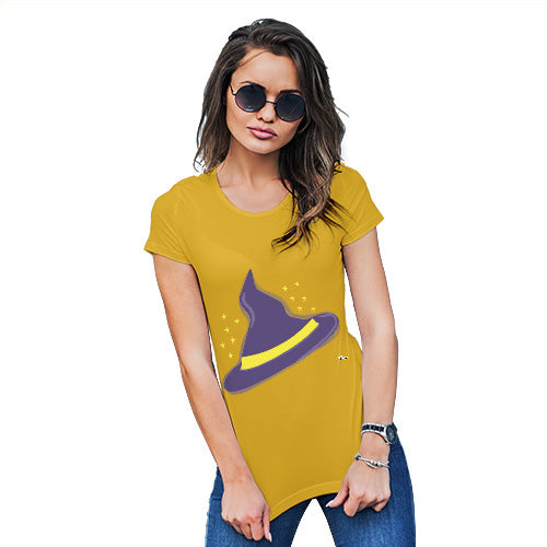 Womens Funny Sarcasm T Shirt Witches Hat Women's T-Shirt Large Yellow