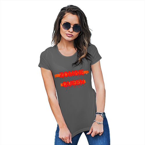 Womens Humor Novelty Graphic Funny T Shirt Zombie Queen Women's T-Shirt Medium Dark Grey