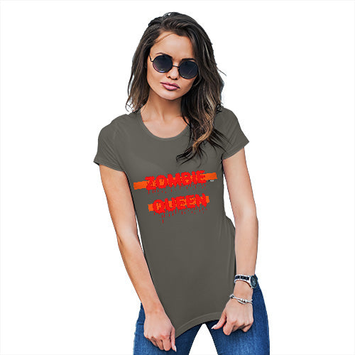 Funny T Shirts For Women Zombie Queen Women's T-Shirt Medium Khaki