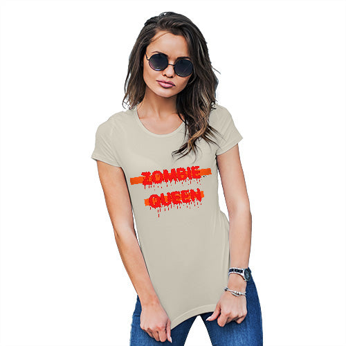 Funny T Shirts For Mom Zombie Queen Women's T-Shirt Medium Natural