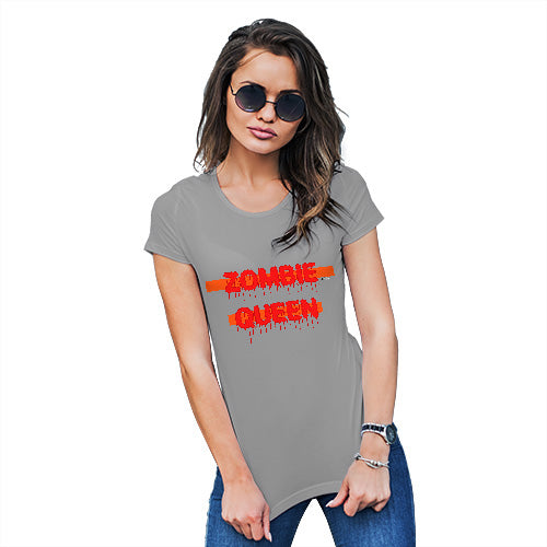Womens Funny Tshirts Zombie Queen Women's T-Shirt Small Light Grey