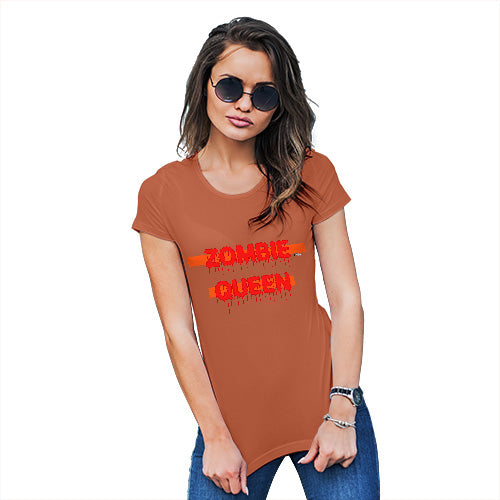 Novelty Tshirts Women Zombie Queen Women's T-Shirt Small Orange