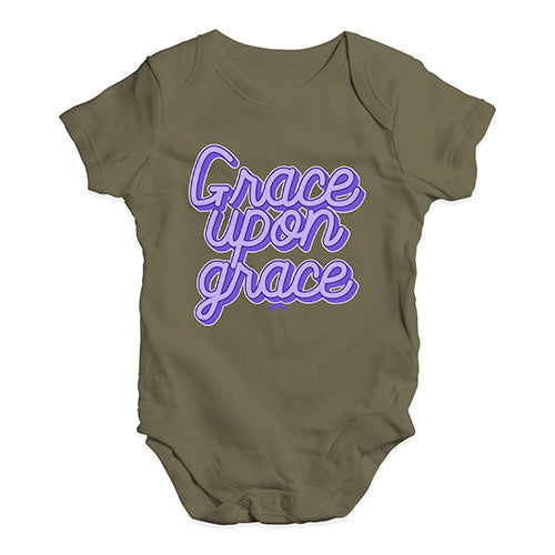 Baby Grow Baby Romper Grace Upon Grace Baby Unisex Baby Grow Bodysuit 0 - 3 Months Khaki