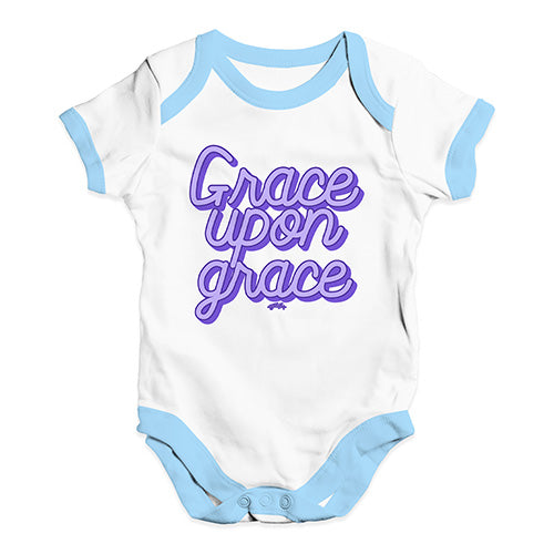 Baby Onesies Grace Upon Grace Baby Unisex Baby Grow Bodysuit 3 - 6 Months White Blue Trim