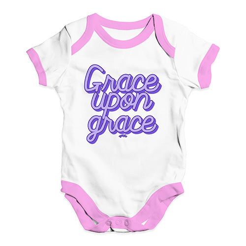 Funny Baby Bodysuits Grace Upon Grace Baby Unisex Baby Grow Bodysuit 12 - 18 Months White Pink Trim
