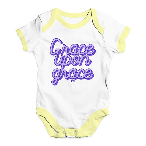 Funny Baby Clothes Grace Upon Grace Baby Unisex Baby Grow Bodysuit 18 - 24 Months White Yellow Trim