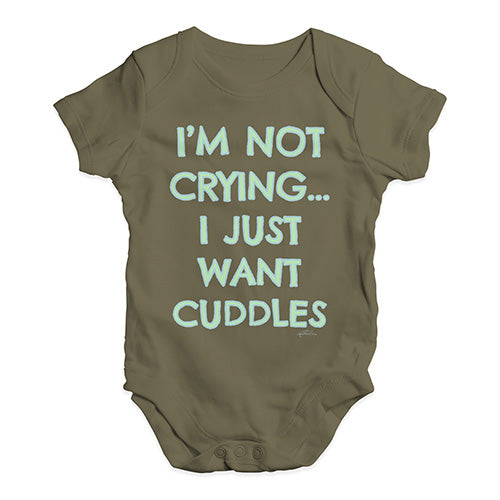 Baby Boy Clothes I'm Not Crying I Just Want Cuddles  Baby Unisex Baby Grow Bodysuit 3-6 Months Khaki