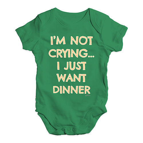 Baby Boy Clothes I'm Not Crying I Just Want Dinner  Baby Unisex Baby Grow Bodysuit 12-18 Months Green