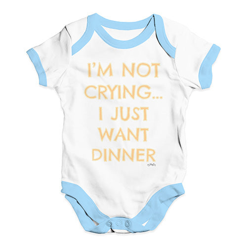 Funny Baby Clothes I'm Not Crying I Just Want Dinner  Baby Unisex Baby Grow Bodysuit 12-18 Months White Blue Trim