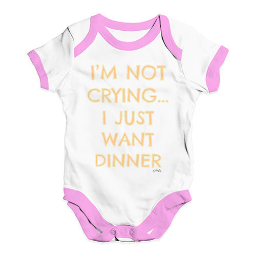 Bodysuit Baby Romper I'm Not Crying I Just Want Dinner  Baby Unisex Baby Grow Bodysuit 0-3 Months White Pink Trim