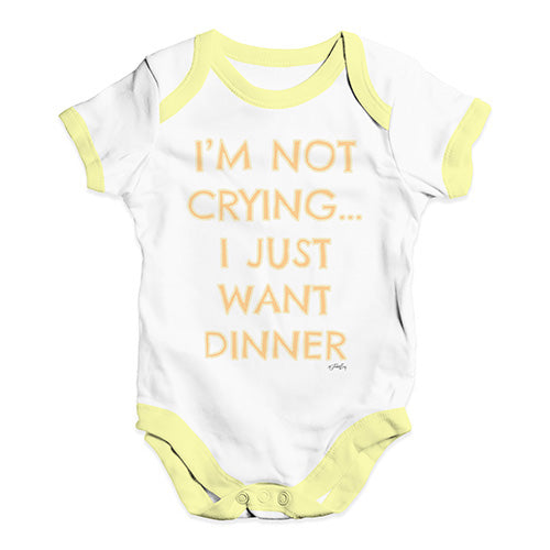 Baby Grow Baby Romper I'm Not Crying I Just Want Dinner  Baby Unisex Baby Grow Bodysuit 18-24 Months White Yellow Trim