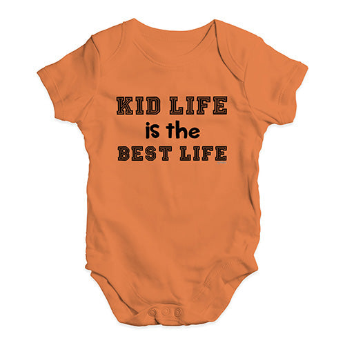 Baby Boy Clothes Kid Life Is The Best Life Baby Unisex Baby Grow Bodysuit 12-18 Months Orange